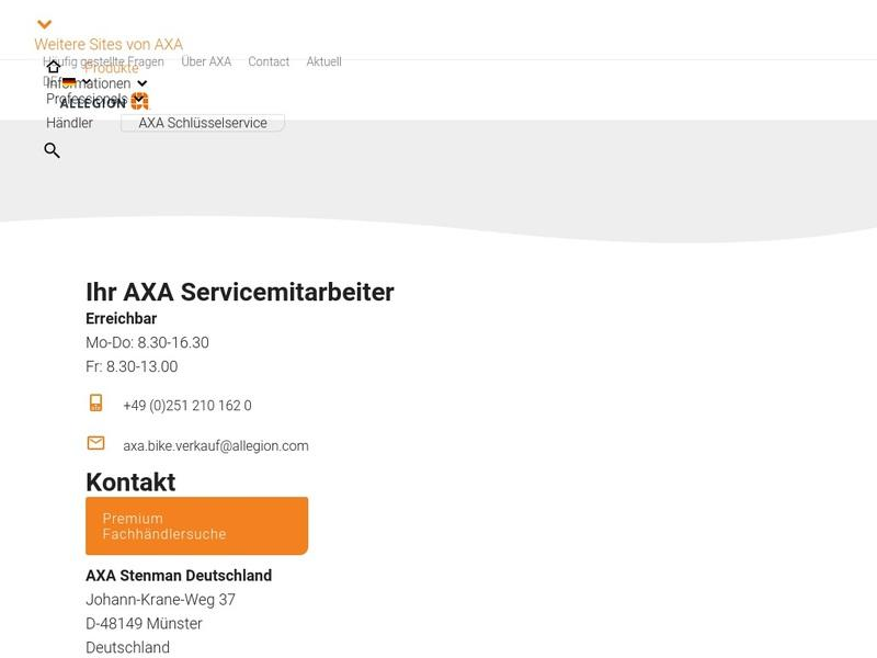 Screenshot von www.axasecurity.com/bike-security/de-de/produkte