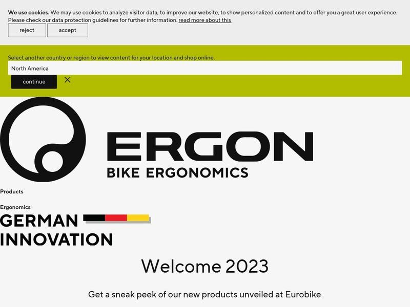 Screenshot von www.ergon-bike.com/de/de/home